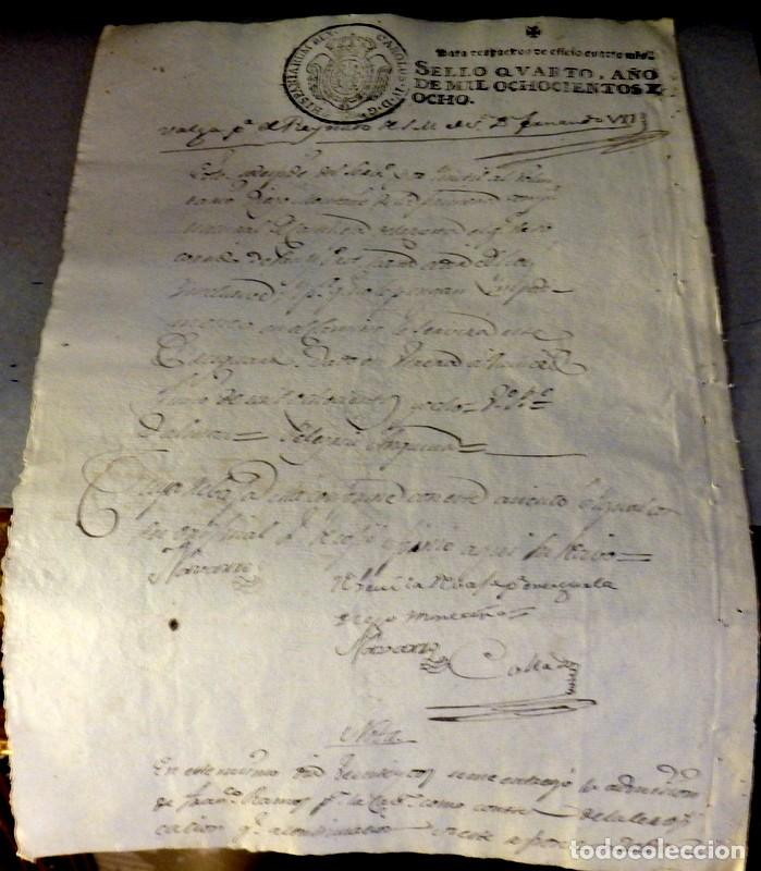 TIMBROLOGÍA FISCAL 1808 SELLO DE OFICIO 4 MARAVEDIS. HABILITADO FERNANDO VII (Sellos - Material Filatélico - Otros)