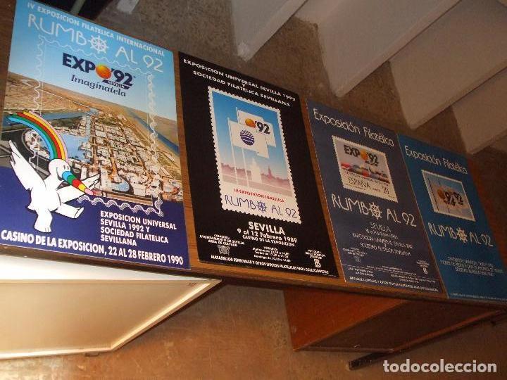 CARTEL 35 X 50 EXPO 92, DE LAS 4 EXPOSICIONES FILATELICAS RUMBO AL 92, CARTEL SIN DOBLAR, PERFECTO (Sellos - Material Filatélico - Otros)