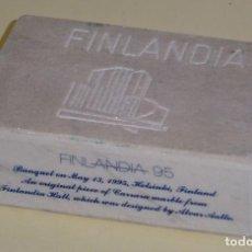 Timbres: RECUERDO EXPOSICIÓN FILATÉLICA FINLANDIA 95. PIEZA DE MÁRMOL DE CARRARA. 9 X 6 X 3 CM. 400 GR. Lote 138720494