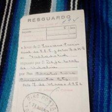 Sellos: RESGUARDO,TALON GIRO POSTAL.AÑO 1952.TORDESILLAS.TESORERO F.E.T Y J.O.N.S DE VALLADOLID.. Lote 139720582