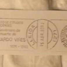 Sellos: MATASELLOS Y SELLO INSTITUTO DE ESTUDIOS ILERDENSES - 40 ANIVERSARIO MUERTE RICARDO VIÑES - LLEIDA. Lote 154996890