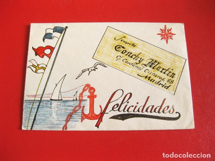 SOBRE DE LOS AÑOS 30 DECORADO CON DIBUJOS ORIGINALES A MANO - CARDENAL CISNEROS 58 (Sellos - Material Filatélico - Otros)