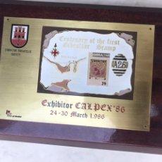 Sellos: PLACA CONMEMORATIVA CALPEX 1986. GIBRALTAR FILATELIA. Lote 159659033
