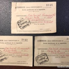 Sellos: 3 RECIBOS JUSTIFICANTES DE IMPOSICIÓN DE CERTIFICADOS. AÑO 1968.. Lote 159829390
