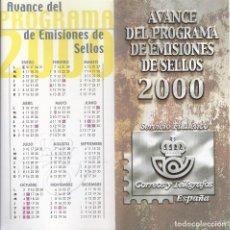 Sellos: FOLLETO AVANCE EMISIONES DE SELLOS AÑO 2000. CORREOS Y TELEGRAFOS DE ESPAÑA. . Lote 161015290
