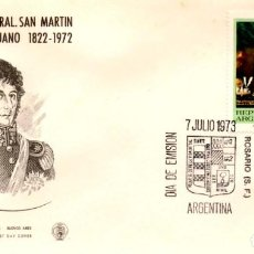 Sellos: SOBRE PRIMER DÍA ARGENTINA 1972 DESPEDIDA GENERAL SAN MARTIN FIRST DAY COVER FILATELIA SELLO. Lote 161299998