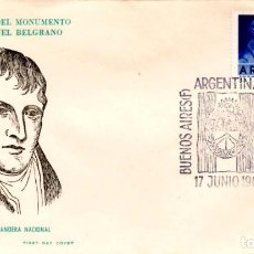 Sellos: SOBRE PRIMER DÍA ARGENTINA 1961 MONUMENTO GENERAL MANUEL BELGRANO FIRST DAY COVER FILATELIA SELLO. Lote 161475926