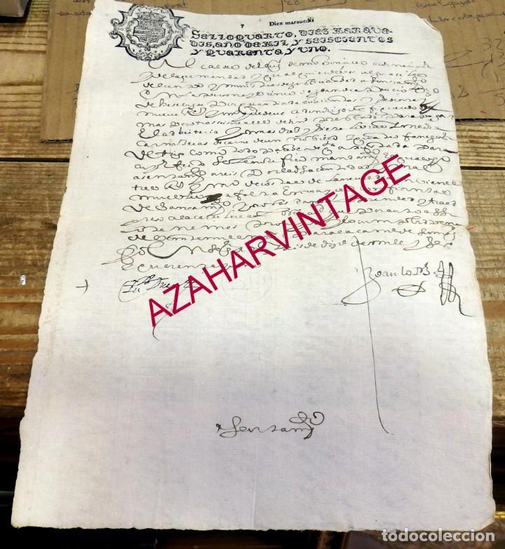 PAPEL TIMBRADO FISCAL FELIPE V AÑO 1741 , SELLO CUARTO DE 10 MARAVEDIS TIMBROLOGIA (Sellos - Material Filatélico - Otros)
