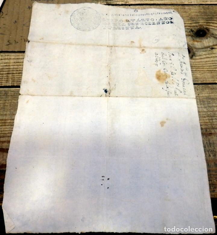 PAPEL TIMBRADO FISCAL FELIPE V AÑO 1730 , SELLO POBRES DE SOLEMNIDAD DE 4 MARAVEDIS TIMBROLOGIA (Sellos - Material Filatélico - Otros)