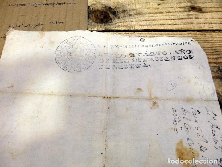 Sellos: papel timbrado fiscal Felipe V año 1730 , sello pobres de solemnidad de 4 maravedis timbrologia - Foto 2 - 171574567