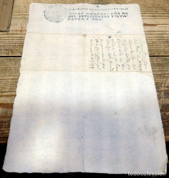 PAPEL TIMBRADO FISCAL FELIPE V AÑO 1741 , SELLO POBRES DE SOLEMNIDAD DE 4 MARAVEDIS TIMBROLOGIA (Sellos - Material Filatélico - Otros)