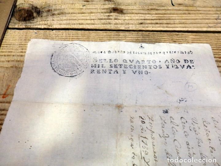 Sellos: papel timbrado fiscal Felipe V año 1741 , sello pobres de solemnidad de 4 maravedis timbrologia - Foto 2 - 171574657