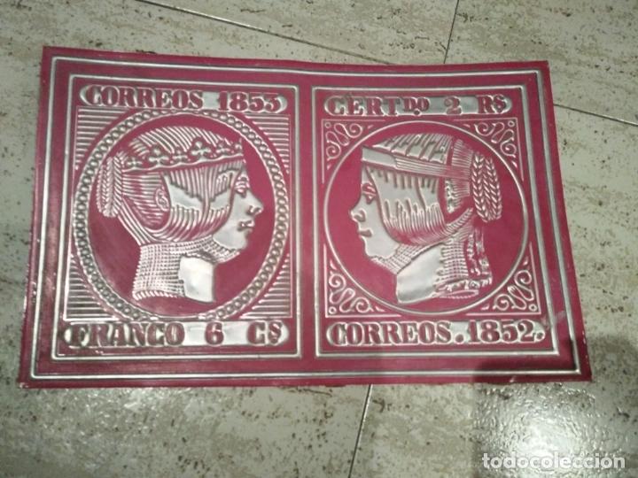 CHAPA DE ALUMINIO SELLOS CORREOS 1853/ 52 (Sellos - Material Filatélico - Otros)