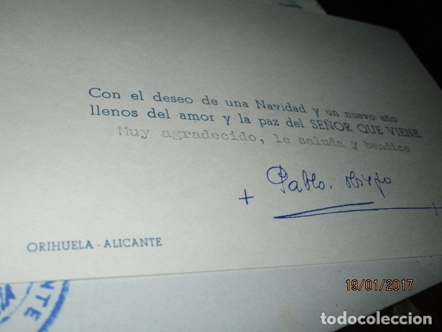 Sellos: carta antigua obispado ORIHUELA ALICANTE ALICANTE FELICITACION SELLO OFICIAL - Foto 6 - 42926352