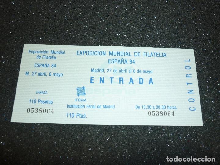 Sellos: 5 ENTRADAS EXPOSICION MUNDIAL DE FILATELIA ESPAÑA 84 - Foto 3 - 178610576