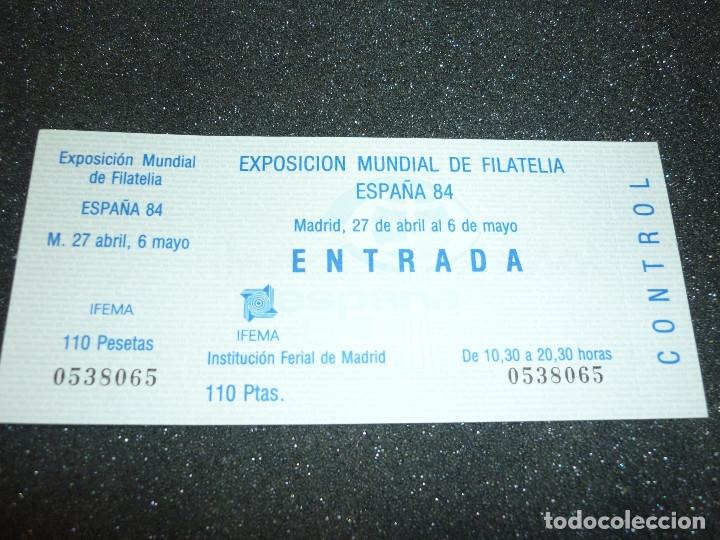 Sellos: 5 ENTRADAS EXPOSICION MUNDIAL DE FILATELIA ESPAÑA 84 - Foto 5 - 178610576
