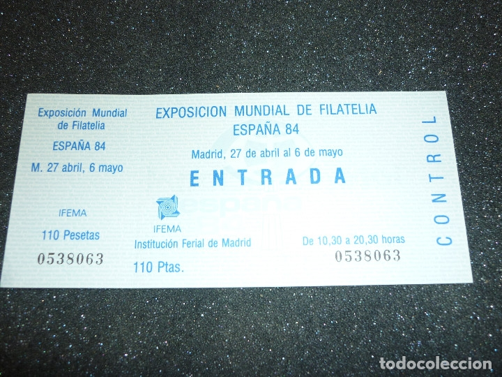 Sellos: 5 ENTRADAS EXPOSICION MUNDIAL DE FILATELIA ESPAÑA 84 - Foto 6 - 178610576