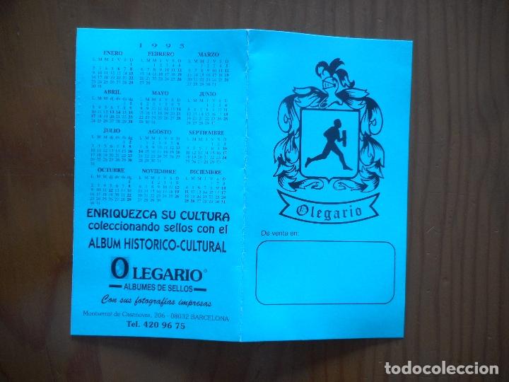 ALMANAQUE CALENDARIO DÍPTICO. AVANCE EMISIONES SELLOS 1995. OLEGARIO ALBUMES DE SELLOS. BARCELONA (Sellos - Material Filatélico - Otros)