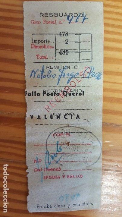 RESGUARDO DE GIRO POSTAL. MATASELLOS CANARIAS CON DESTINO VALENCIA, 29 NOVIEMBRE 1958. (Sellos - Material Filatélico - Otros)