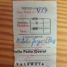 Sellos: RESGUARDO DE GIRO POSTAL. MATASELLOS CANARIAS CON DESTINO VALENCIA, 29 NOVIEMBRE 1958.. Lote 179838583