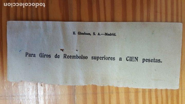 Sellos: RESGUARDO DE GIRO POSTAL. MATASELLOS CANARIAS CON DESTINO VALENCIA, 29 NOVIEMBRE 1958. - Foto 2 - 179838583
