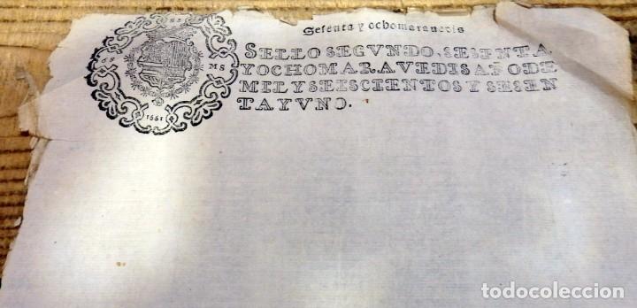 Sellos: TIMBROLOGIA.FELIPE IV, SEGUNDO.68 MARAVEDIES.AÑO 1661, EN BLANCO, RARISIMO - Foto 2 - 182261168