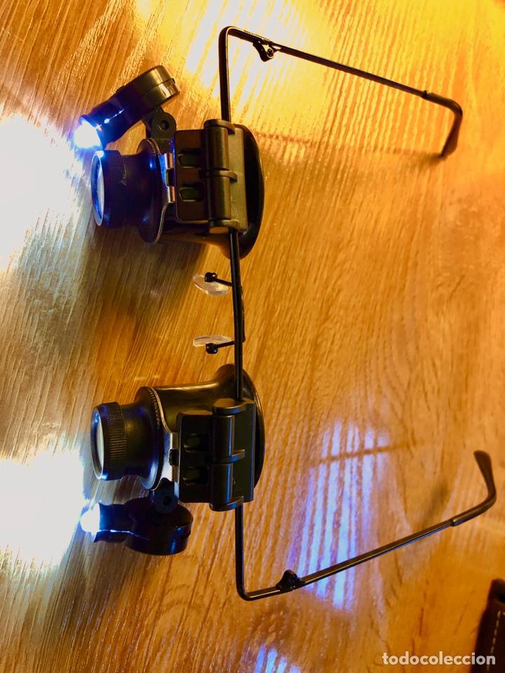 GAFAS DE AUMENTO DE DOBLE ÓPTICA X20 CON LUZ LED (Sellos - Material Filatélico - Otros)