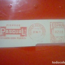 Sellos: PASCUAL PIENSOS PUBLICIDAD MATASELLOS RODILLO ROJO 1971 RECORTADO 12 CMS APROX LARGO. Lote 182724551