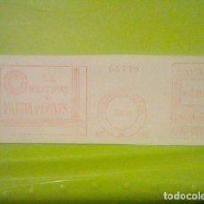 Sellos: FABRA COATS HILATURAS PUBLICIDAD MATASELLOS RODILLO ROJO 1971 RECORTADO 14 CMS APROX LARGO. Lote 182745755