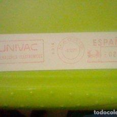 Sellos: UNIVAC ORDENADORES ELECTRONICOS PUBLICIDAD MATASELLO RODILLO ROJO 1971 RECORTADO 14 CMS APROX LARGO. Lote 182746730