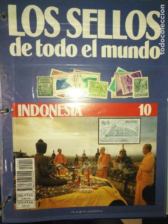 LOS SELLOS DE TODO EL MUNDO PLANETA AGOSTINI AÑO 1989 , FASCICULO + SELLO NUMERO 10 INDONESIA (Sellos - Material Filatélico - Otros)