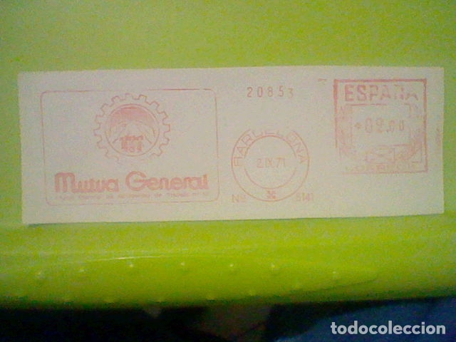 MUTUA GENERAL BARCELONA PUBLICIDAD MATASELLO RODILLO 1971 RECORTADO 14 CMS APROX LARGO (Sellos - Material Filatélico - Otros)