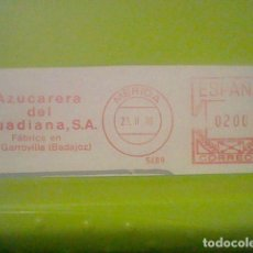 Sellos: AZUCARERA GUADIANA GARROVILLA BADAJOZ MERIDA MATASELLO RODILLO 1970 RECORTADO 12 CMS APROX LARGO. Lote 182863445