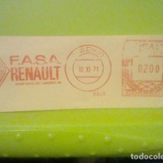 Sellos: REANULT FASA MATASELLO MADRID RODILLO 10 XI 1971 RECORTADO 12 CMS APROX LARGO. Lote 182866602