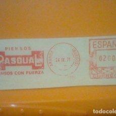 Sellos: PASCUAL PIENSOS MATASELLO RODILLO 24 IX 1970 RECORTADO 11 CMS APROX LARGO. Lote 182879473
