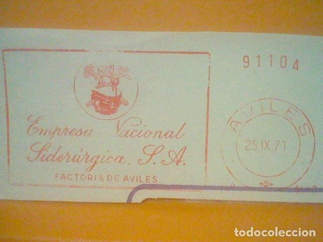 Sellos: SIDERURGIA AVILES MATASELLO RODILLO 25 IX 1971 RECORTADO 14 CMS APROX LARGO - Foto 2 - 182880452