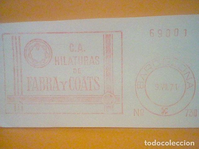 Sellos: FABRA COATS HILATURAS BARCELONA MATASELLO RODILLO 1971 RECORTADO 14 CMS APROX LARGO - Foto 2 - 182881213
