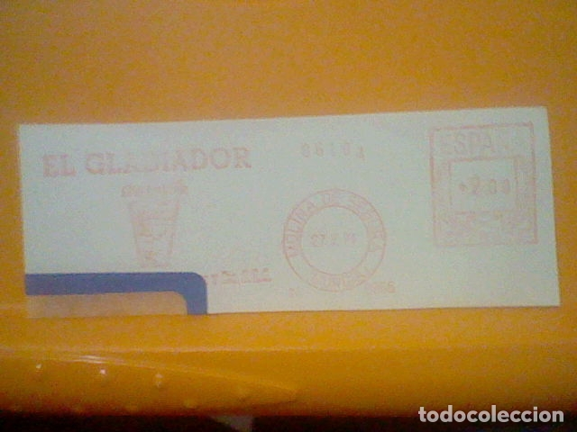 GLADIADOR MOLINA SEGURA MURCIA MATASELLO RODILLO 1971 RECORTADO 14 CMS APROX LARGO (Sellos - Material Filatélico - Otros)