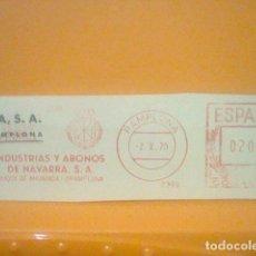 Sellos: ABONOS PAMPLONA MATASELLO RODILLO 1970 RECORTADO 12 CMS APROX LARGO. Lote 182882023