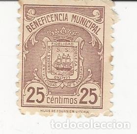 BENEFICENCIA MUNICIPAL SAN SEBASTIAN 25 CÉNTIMOS (Sellos - Material Filatélico - Otros)