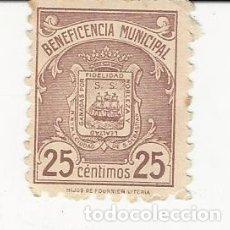 Sellos: BENEFICENCIA MUNICIPAL SAN SEBASTIAN 25 CÉNTIMOS. Lote 183068461