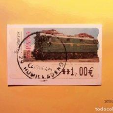Sellos: ATMS - ETIQUETAS - TRENES CLÁSICOS - LOCOMOTORA - MODELO 117 - AÑO 2005 - HUMILLADERO.. Lote 185743506