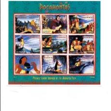 Timbres: SELLOS DE WALT DISNEY MINI PLIEGO DE GUYANA 1995 POCAHONTAS. Lote 245347135