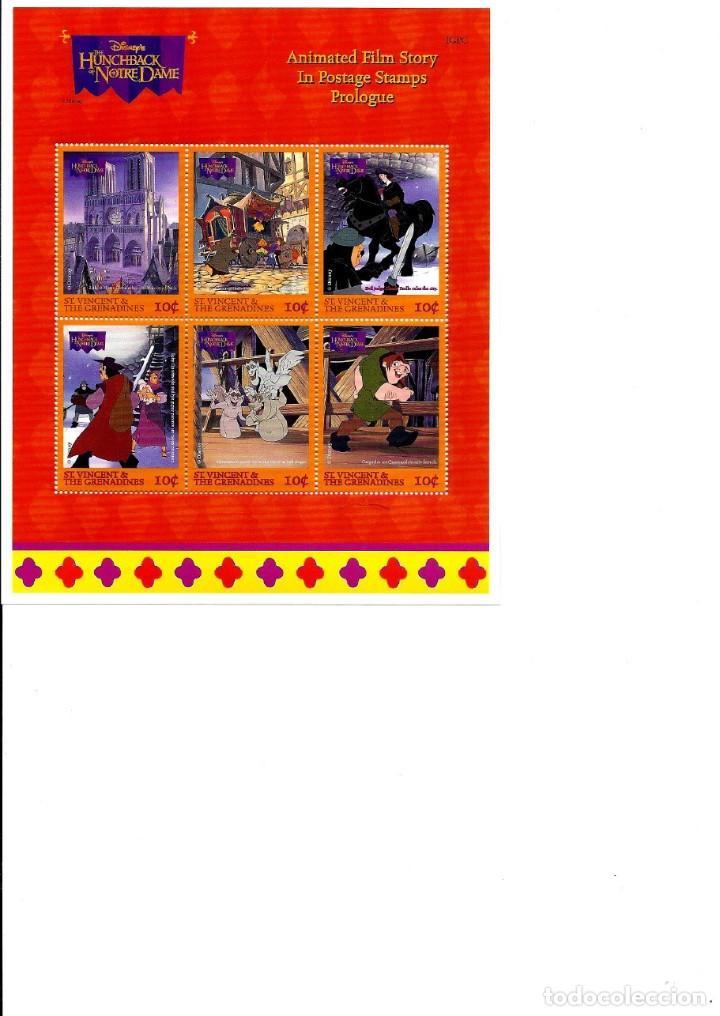 SELLOS DE WALT DISNEY NINI PLIGO SELLOS NUEVOS; SAN VICENTE 1996.EL JOROBADO DE NOTRE DAME (Sellos - Material Filatélico - Otros)
