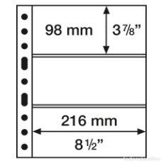 Francobolli: LEUCHTTURM 305160 HOJAS DE PLÁSTICO GRANDE, CON3 BANDAS HORIZONTALES, NEGRAS. Lote 204034091