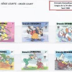 Sellos: SELLOS WALT DISNEY SERIE CORTA. GRENADA GRENADINAS 1988.. Lote 207085178