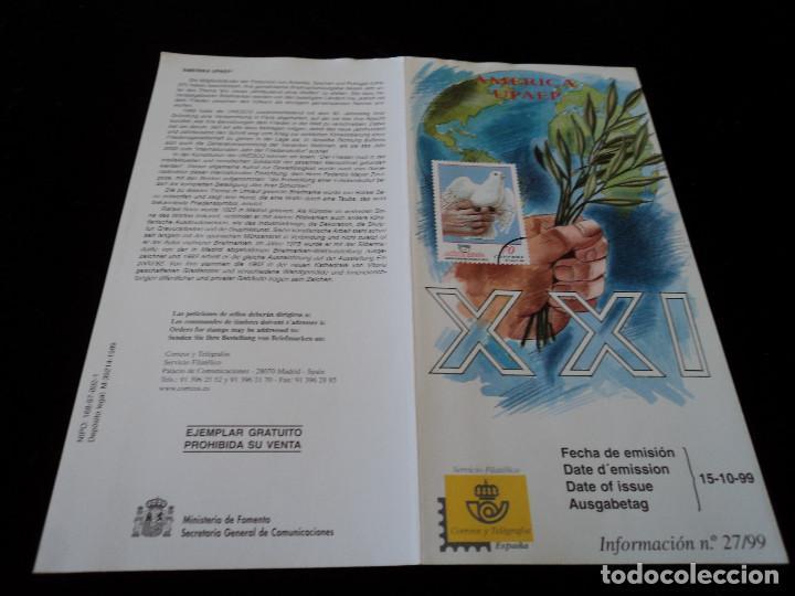 INFORMACION FILATELICA DE CORREOS AMERICA UPAEP 1999 (Sellos - Material Filatélico - Otros)