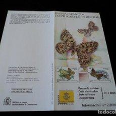 Sellos: INFORMACION FILATELICA DE CORREOS MARIPOSAS EN PELIGRO DE EXTINCION 2000. Lote 207216502