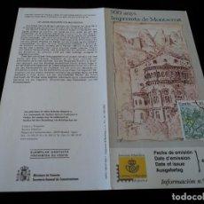 Sellos: INFORMACION FILATELICA DE CORREOS 500 AÑOS DE LA IMPREMTA DE MONTSERRAT 2000. Lote 207217002