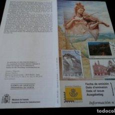 Sellos: INFORMACION FILATELICA DE CORREOS LAS MEDULAS, MONTE PERDIDO Y PALAU DE LA MUSICA 2000. Lote 207338645